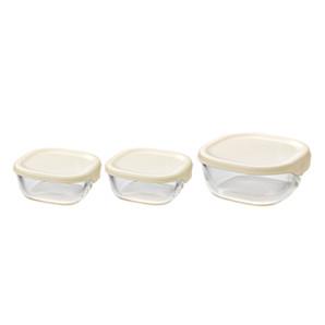 【T】耐熱ガラス製保存容器3個セット オフホワイト