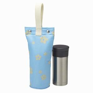 マグボトルカバー ボタン式 フラワー ブルー