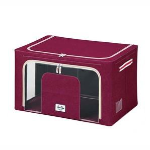 【T】積み重ねできる 窓付収納ボックス ワイド レッド