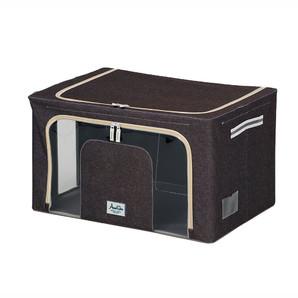 【T】積み重ねできる 窓付収納ボックス ワイド ブラウン