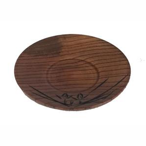 【T】木製茶托 蘭彫 スリ 4.0寸
