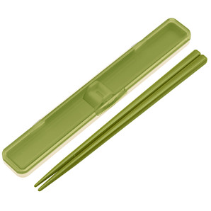 【T】レトロフレンチ 音のならない箸・箸箱セット グリーン